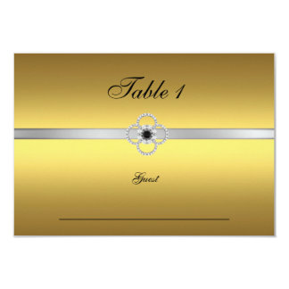 "Guest Place Table Gold Silver Black Jewel 3.5"" X 5"" Invitation Card"