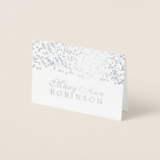 Guest Seating Place Card Silver Foil Confetti