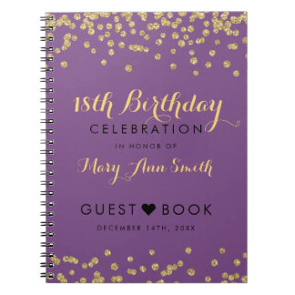 Guestbook 18th Birthday Gold Confetti Purple Notebooks