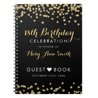 Guestbook 18th Birthday Gold Glitter Confetti Blac Spiral Notebook