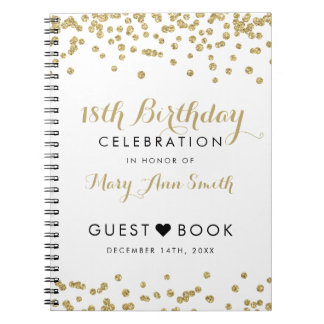 Guestbook 18th Birthday Gold Glitter Confetti Notebooks