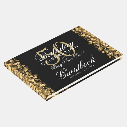 Guestbook 50th Birthday Party Sparkles Gold