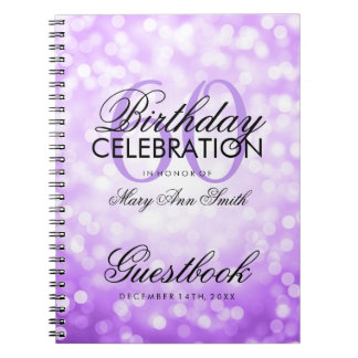 Guestbook 60th Birthday Party Purple Glitter Light Notebooks