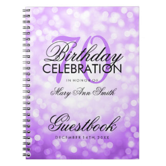 Guestbook 70th Birthday Party Purple Glitter Light Note Book