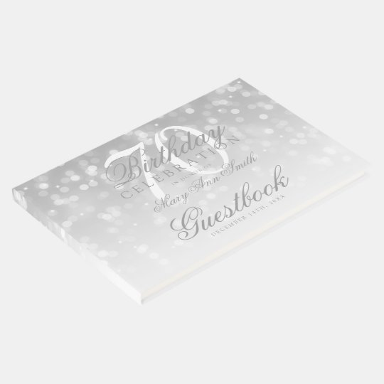 Guestbook 70th Birthday Silver Bokeh Sparkle Light