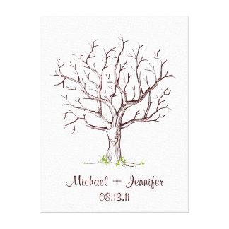 Guestbook d arbre d empreinte digitale de mariage toiles tendues sur châssis