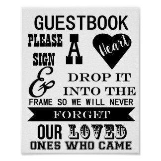 Guestbook Sign Please sign a heart wedding table