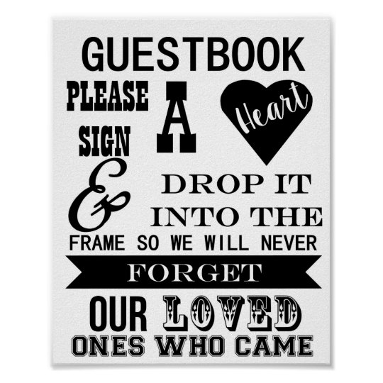 guestbook sign please sign a heart wedding table. Black Bedroom Furniture Sets. Home Design Ideas