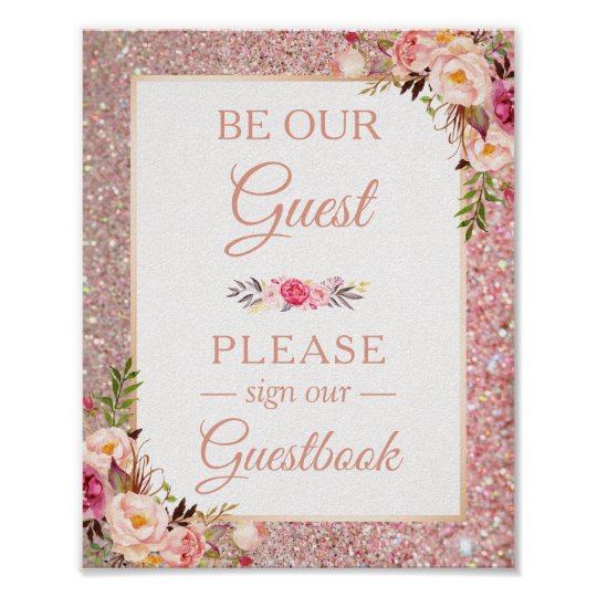 Guestbook Wedding Sign Rose Gold Glitter Floral