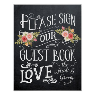 guestbook wedding sign typography floral poster