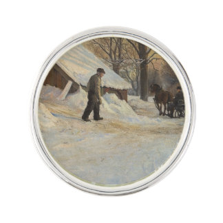 Guests Arrive in Sleigh Gjester Lapel Pin