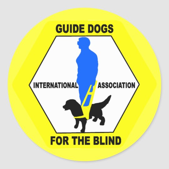GUIDE DOGS BLIND PEOPLE CLASSIC ROUND STICKER