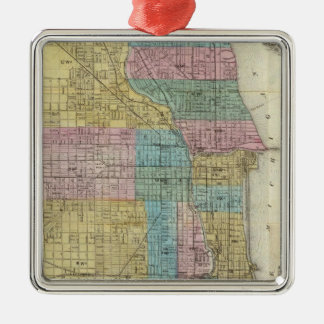 Guide Map of Chicago Metal Ornament