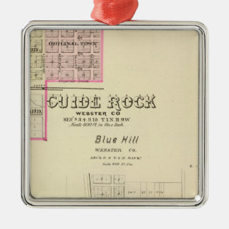 Guide Rock and Blue Hill, Nebraska Silver-Colored Square Ornament