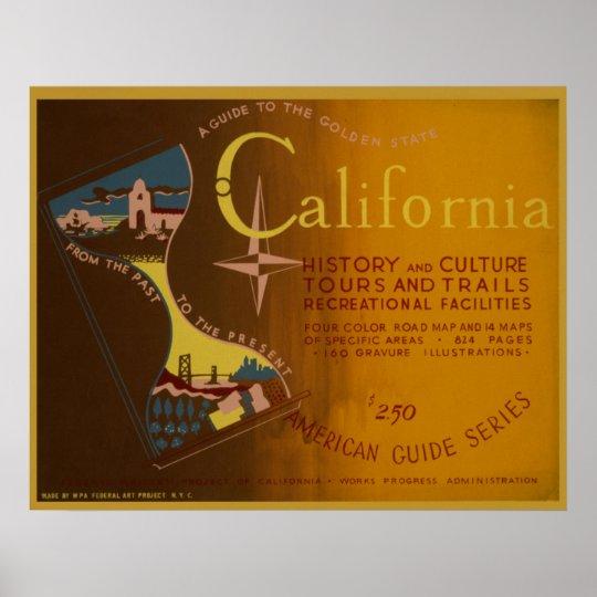 Guide to California 1940 WPA Vinatge Poster