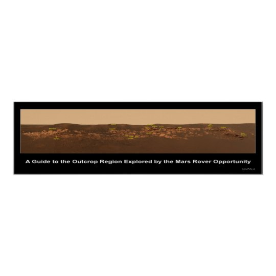 Guide to Rock Outcrop Near Mars Rover Opportunity Poster