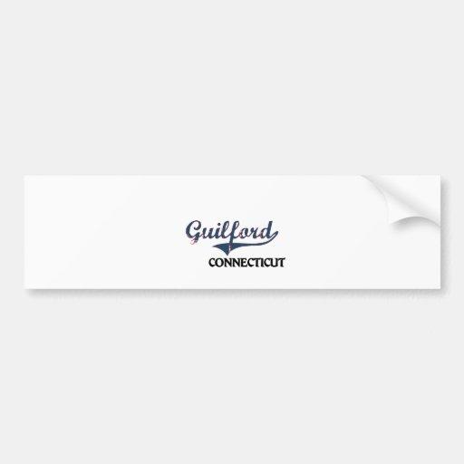 Guilford Connecticut City Classic Car Bumper Sticker