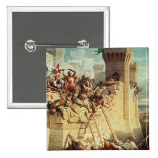 Guillaume de Clermont defending Ptolemais 2 Inch Square Button