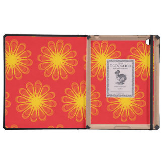 Guilloche Flowers red yellow iPad Folio Cover
