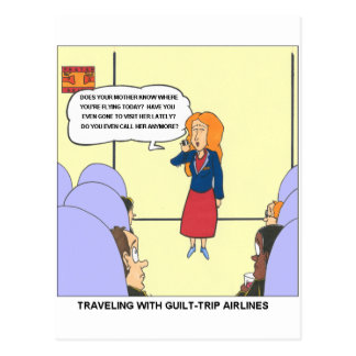 Guilt Trip Airlines Funny Carrtoon Gifts & Tees Postcard