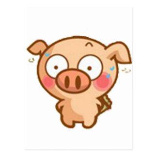 Guilty Piggy In Headlights Post Card
