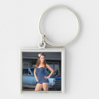 Guilty Pontiac GTO Vintage Swimsuit Pin Up Girl Keychain