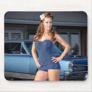 Guilty Pontiac GTO Vintage Swimsuit Pin Up Girl Mouse Pad
