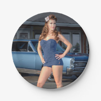 Guilty Pontiac GTO Vintage Swimsuit Pin Up Girl Paper Plate
