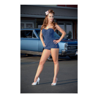 Guilty Pontiac GTO Vintage Swimsuit Pin Up Girl Poster