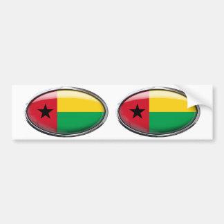 Guinea-Bissau Flag in Glass Oval Bumper Sticker