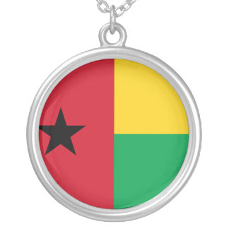 Guinea-Bissau Flag Silver Plated Necklace