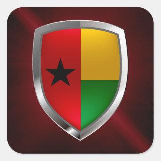 Guinea-Bissau Mettalic Emblem Square Sticker
