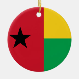 Guinea-Bissau National World Flag Round Ceramic Ornament