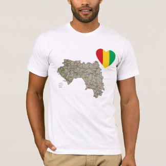 Guinea-Conakry Flag Heart and Map T-Shirt
