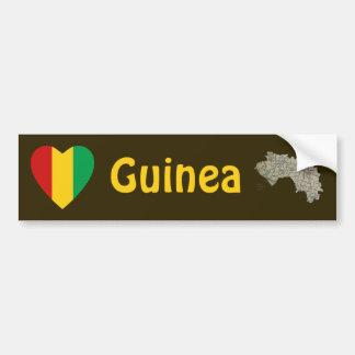 Guinea-Conakry Flag Heart + Map Bumper Sticker