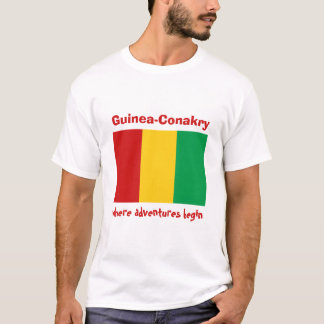 Guinea-Conakry Flag + Map + Text T-Shirt
