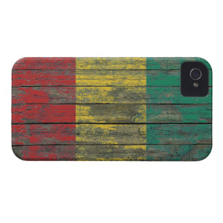 Guinea Flag on Rough Wood Boards Effect iPhone 4 Cases
