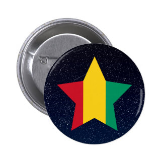 Guinea Flag Star In Space 2 Inch Round Button