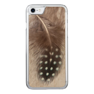 Guinea fowl and goose feather carved iPhone 8/7 case