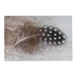 Guinea fowl and goose feather laminated placemat