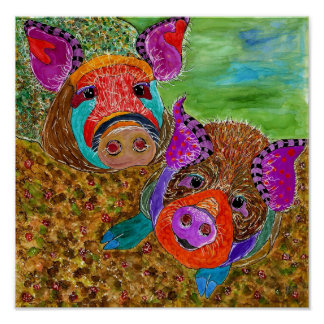 "Guinea Hog 12x12"" Poster (Customizable)"
