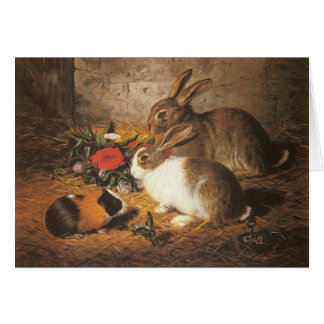 Guinea Pig and Rabbits Greeting Card