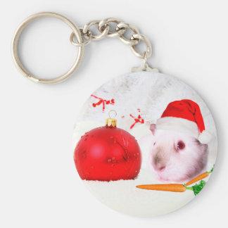 Guinea Pig Christmas Basic Round Button Keychain