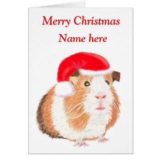 Guinea Pig Christmas card, customisable Card