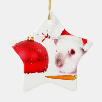 Guinea Pig Christmas Ceramic Star Ornament