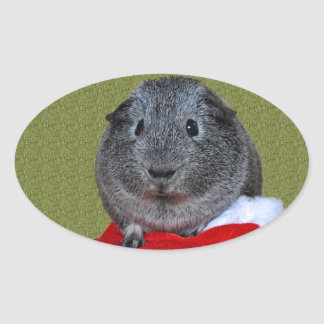 Guinea Pig Christmas Oval Sticker