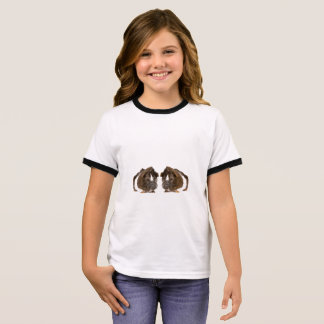 Guinea pig for Girl's Ringer T-Shirt, White/Black Ringer T-Shirt