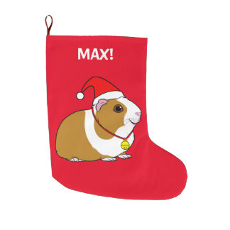 Guinea Pig In a Santa Hat and Bow Large Christmas Stocking