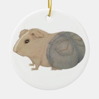 Guinea Pig in Jeans Ceramic Ornament