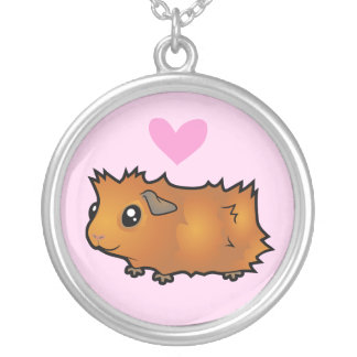 Guinea Pig Love (scruffy) Silver Plated Necklace